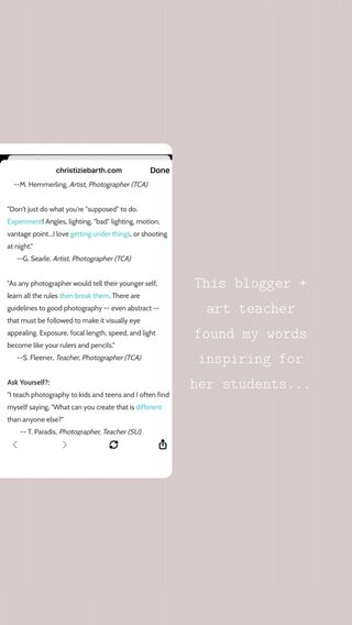 This blogger + art teacher found my words inspiring for her students...