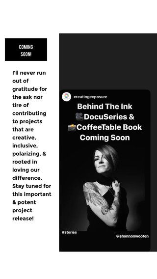 I'll never run out of gratitude for the ask nor tire of contributing to projects that are creative, inclusive, polarizing, & rooted in loving our difference. Stay tuned for this important & potent project release! COMING SOON!