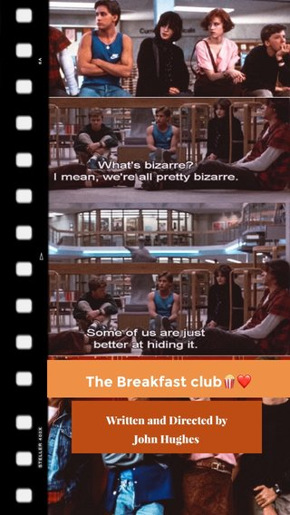The Breakfast club🍿❤️ Written and Directed by John Hughes