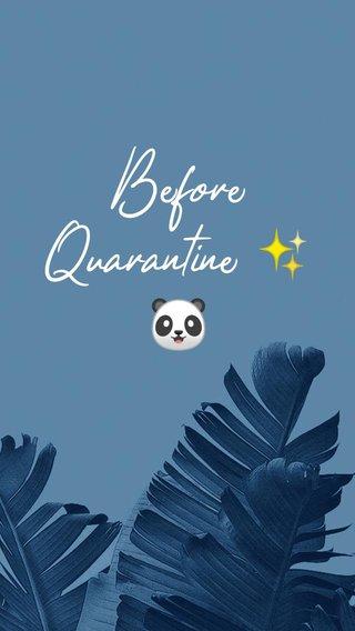Before Quarantine ✨🐼