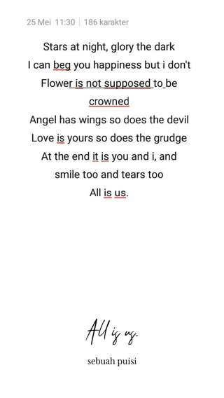 All is us. sebuah puisi