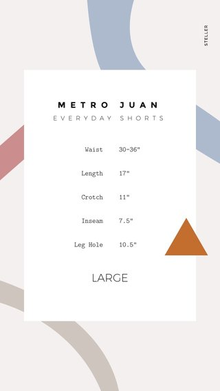 "LARGE METRO JUAN Waist Length Crotch Inseam Leg Hole 30-36"" 17"" 11"" 7.5"" 10.5"" EVERYDAY SHORTS"
