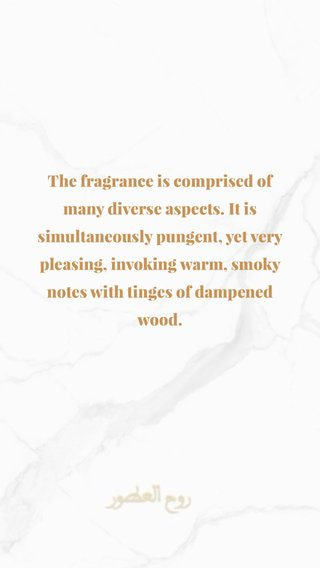 The fragrance is comprised of many diverse aspects. It is simultaneously pungent, yet very pleasing, invoking warm, smoky notes with tinges of dampened wood.