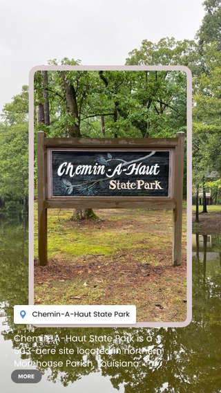 """Chemin-A-Haut State Park is a 503-acre site located in northern Morehouse Parish, Louisiana. Visitors may access the park from U.S. Highway 425 about 10 miles north of Bastrop. Chemin-à-Haut means """"High Road"""" in French. Much of the park is on a high bluff overlooking winding Bayou Bartholomew."""