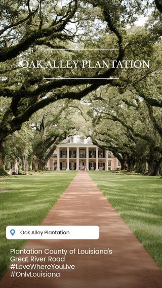 OAK ALLEY PLANTATION Plantation County of Louisiana's Great River Road #LoveWhereYouLive #OnlyLouisiana