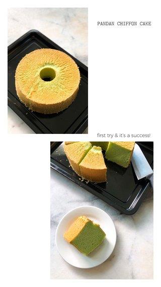PANDAN CHIFFON CAKE first try & it's a success!