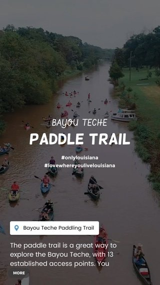 PADDLE TRAIL BAYOU TECHE The paddle trail is a great way to explore the Bayou Teche, with 13 established access points. You can take town to town segments as short as 6 miles, or as long as 12 miles. #onlylouisiana #lovewhereyoulivelouisiana