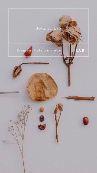 LAB Botanic Lab Element balance study