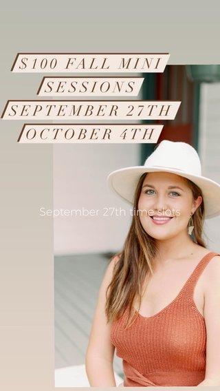 September 27th time slots