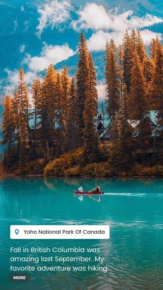 Fall in British Columbia was amazing last September. My favorite adventure was hiking around the turquoise waters of lake emerald. You can canoe here, look for wildlife and take pictures of the stunning mountain scenery. Lake emerald is very close to Banff, and a short drive away from the famed Icefields parkway. Don't forget to visit the lodge for a coffee and snack. #adventure #travel #canada #wildernessculture #beautifuldestinations #earthpix #artofvisuals #masterclass #camping #water #photography