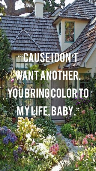 """""""'Cause I don't want another. You bring color to my life, baby."""""""