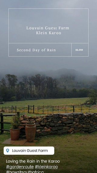 Loving the Rain in the Karoo #gardenroute #kleinkaroo #howzitsouthafrica Louvain Guest Farm Klein Karoo Second Day of Rain 11.00