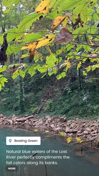 Natural blue waters of the Lost River perfectly compliments the fall colors along its banks. Genesis records this river as the shortest and also deepest river in the world. #fallcolors