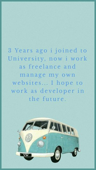 3 Years ago i joined to University, now i work as freelance and manage my own websites... I hope to work as developer in the future.