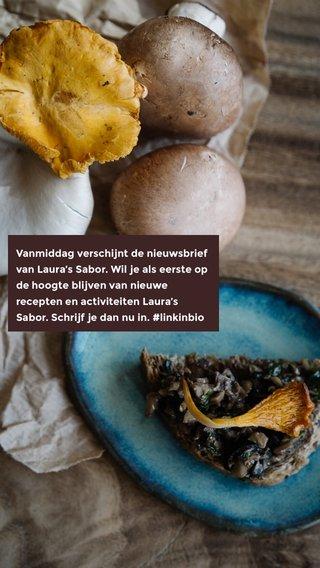 Vanmiddag verschijnt de nieuwsbrief van Laura's Sabor. Wil je als eerste op de hoogte blijven van nieuwe recepten en activiteiten Laura's Sabor. Schrijf je dan nu in. #linkinbio