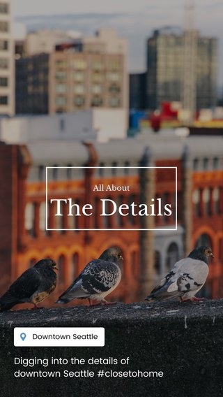 The Details Digging into the details of downtown Seattle #closetohome All About