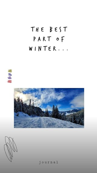 The Best Part of Winter... journal