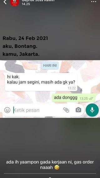 Rabu, 24 Feb 2021 aku, Bontang. kamu, Jakarta.