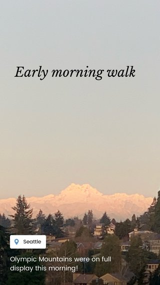 Early morning walk Olympic Mountains were on full display this morning!