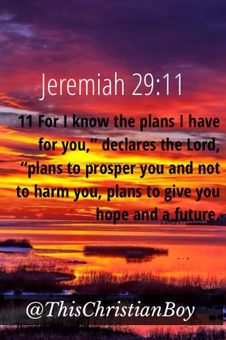"""Jeremiah 29:11 @ThisChristianBoy 11 For I know the plans I have for you,"""" declares the Lord, """"plans to prosper you and not to harm you, plans to give you hope and a future."""