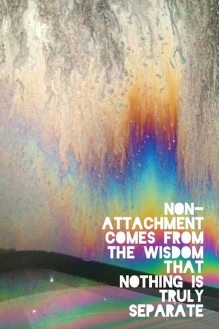 Non-attachment comes from the wisdom that nothing is truly separate