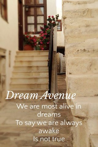 Dream Avenue We are most alive in dreams To say we are always awake Is not true