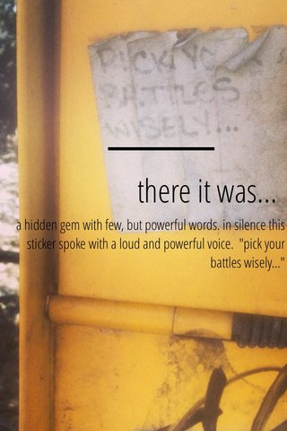 """there it was... a hidden gem with few, but powerful words. in silence this sticker spoke with a loud and powerful voice. """"pick your battles wisely..."""""""