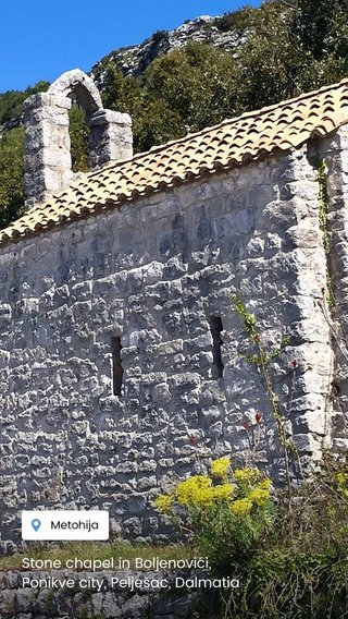 Stone chapel in Boljenovići, Ponikve city, Pelješac, Dalmatia