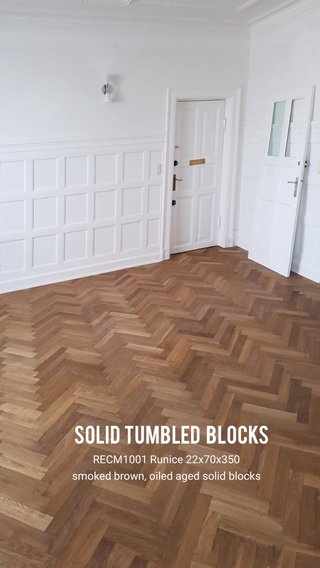 Solid Tumbled blocks RECM1001 Runice 22x70x350 smoked brown, oiled aged solid blocks