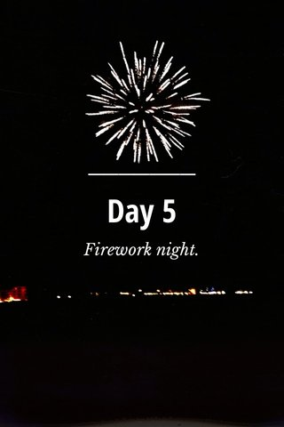 Day 5 Firework night.
