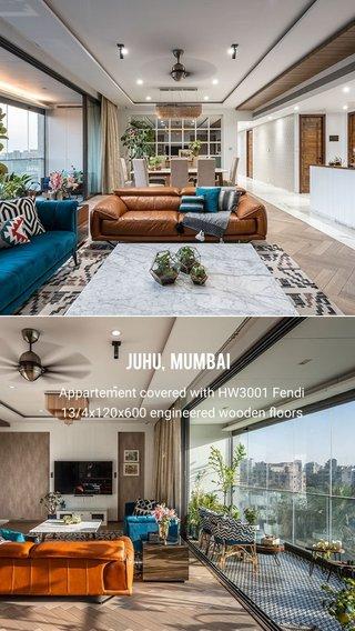 Juhu, Mumbai Appartement covered with HW3001 Fendi 13/4x120x600 engineered wooden floors