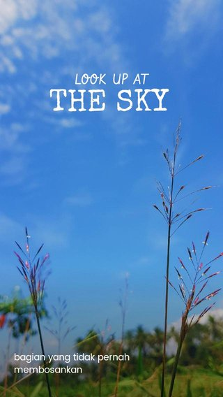THE SKY LOOK UP AT bagian yang tidak pernah membosankan