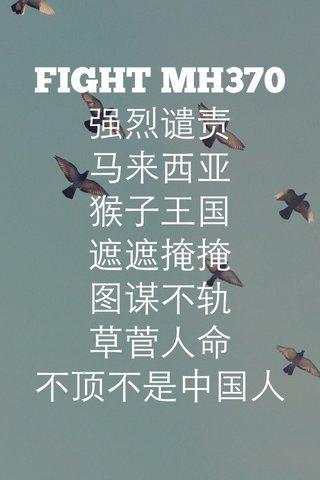 FIGHT MH370 强烈谴责 马来西亚 猴子王国 遮遮掩掩 图谋不轨 草菅人命 不顶不是中国人