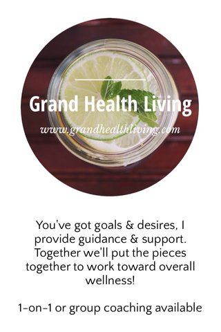 You've got goals & desires, I provide guidance & support. Together we'll put the pieces together to work toward overall wellness! 1-on-1 or group coaching available