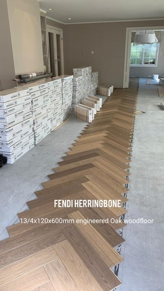 Fendi Herringbone 13/4x120x600mm engineered Oak woodfloor