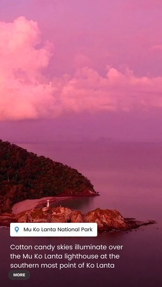 Cotton candy skies illuminate over the Mu Ko Lanta lighthouse at the southern most point of Ko Lanta island, in the south of Thailand.