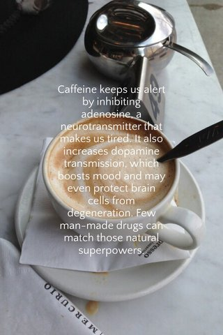 Caffeine keeps us alert by inhibiting adenosine, a neurotransmitter that makes us tired. It also increases dopamine transmission, which boosts mood and may even protect brain cells from degeneration. Few man-made drugs can match those natural superpowers.