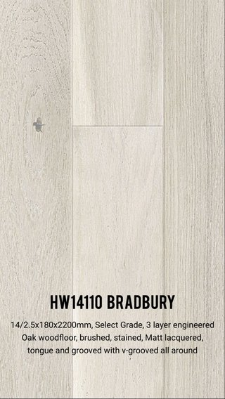 HW14110 Bradbury 14/2.5x180x2200mm, Select Grade, 3 layer engineered Oak woodfloor, brushed, stained, Matt lacquered, tongue and grooved with v-grooved all around
