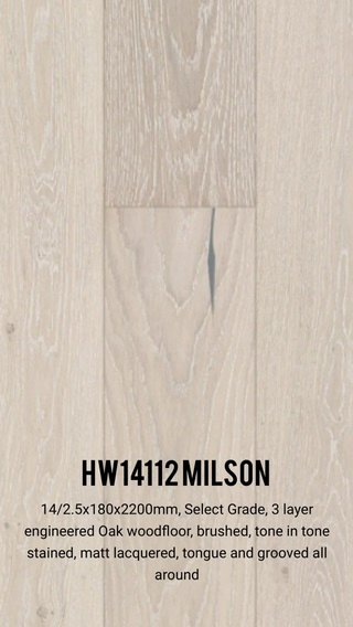 HW14112 Milson 14/2.5x180x2200mm, Select Grade, 3 layer engineered Oak woodfloor, brushed, tone in tone stained, matt lacquered, tongue and grooved all around