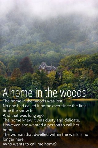 A home in the woods The home in the woods was lost. No one had called it home ever since the first time the snow fell. And that was long ago. The home knew it was dusty and delicate. However, she wanted a person to call her home. The woman that dwelled within the walls is no longer here. Who wants to call me home?