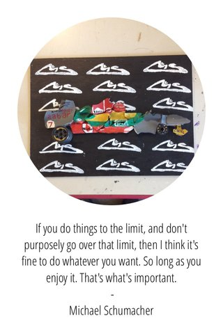 If you do things to the limit, and don't purposely go over that limit, then I think it's fine to do whatever you want. So long as you enjoy it. That's what's important. - Michael Schumacher