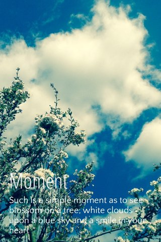 Moment Such is a simple moment as to see blossom on a tree, white clouds upon a blue sky and a smile in your heart