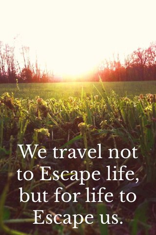 We travel not to Escape life, but for life to Escape us.
