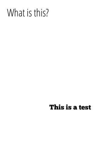 What is this? This is a test