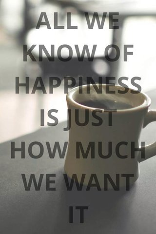 ALL WE KNOW OF HAPPINESS IS JUST HOW MUCH WE WANT IT Veloro Bicycles, Inc