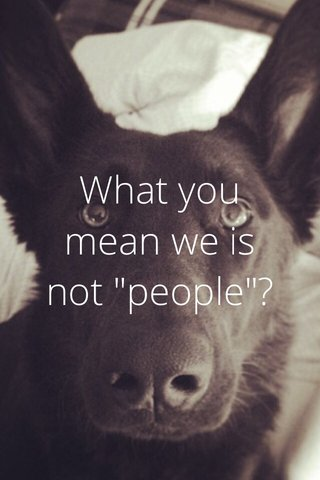 "What you mean we is not ""people""?"