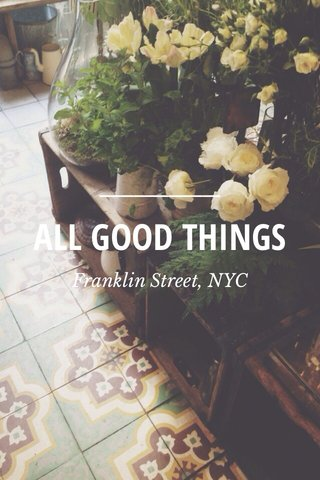 ALL GOOD THINGS Franklin Street, NYC