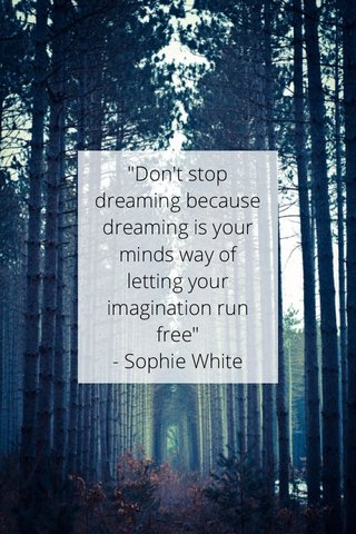 """""""Don't stop dreaming because dreaming is your minds way of letting your imagination run free"""" - Sophie White"""