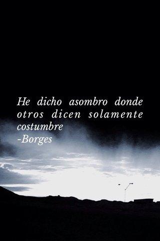 He dicho asombro donde otros dicen solamente costumbre -Borges