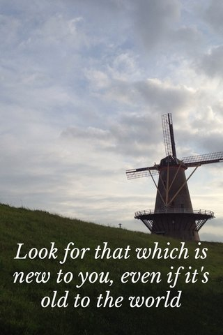 Look for that which is new to you, even if it's old to the world